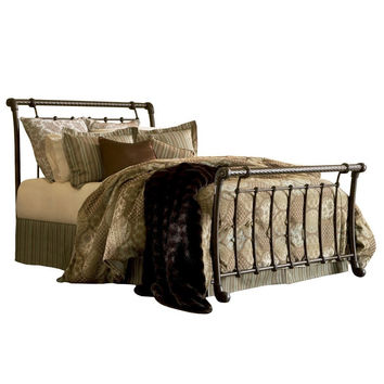 King size Metal Sleigh Bed in Ancient Gold Finish