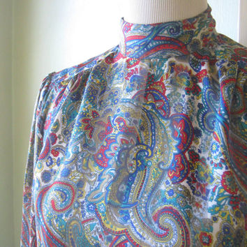 High Neck Vintage Paisley Blouse; Medium-Large - White, Red, Yellow, Blue Paisley Top - Silky Party Blouse/Career Shirt/Date Blouse