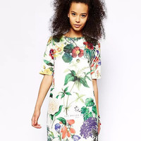 White Floral Print Sleeve Shift Dress