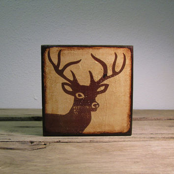 Deer Head Antlers Silhouette Painting - Mix and Match Art Blocks -- MatchBlox---1708