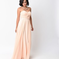 Peach Chiffon Strapless Sweetheart Corset Long Gown