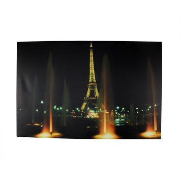 """LED Lighted Famous Eiffel Tower Paris France at Night Canvas Wall Art 15.75"""" x 23.75"""""""