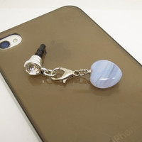 Valentine Gift Natural Blue Lace Agate Heart Cell Phone Earphone Jack 3.5mm for iPhone, Samsung, Nokia, HTC