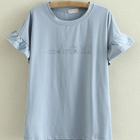 Blue Round Neck Bell Sleeve Rabbits Printed T-shirt