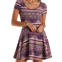 Purple Combo Cut-Out Geometric Print Skater Dress by Charlotte Russe