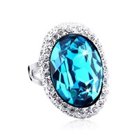 Classic Oval Shape Crystal Ring with Swarovski Elements