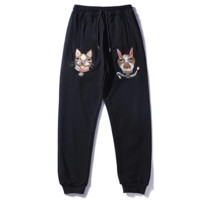GUCCI New fashion embroidery dog couple leisure sport pants Black