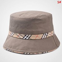 Burberry Fashion New Plaid Couple Travel Sunscreen Leisure Cap Fisherman's Hat 5#