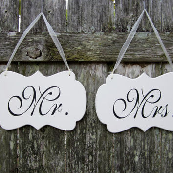 "Wedding Signs, Hand Painted Wooden Shabby Chic Decoration Signs, ""Mr."" / ""Mrs."" Wedding Chair Signs"