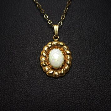 Oval Gold Filled Opal Pendant Necklace, Signed Carl Art, 1/20th 14k G.F. Petite Classic October Birthstone Jewelry, Vintage  1940's 1950's