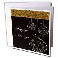 Bev Newcomer Christmas Designs - Elegant Chocolate Brown and Gold Ornament Happy Holidays Christmas Design - 12 Greeting Cards with envelopes (gc_113893_2)