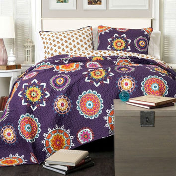 Full / Queen Purple Orange Blue Paisley Geometric 100% Cotton 3 Piece Quilt Coverlet Bedspread Set