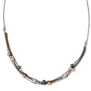 Sterling Silver, Rose Gold Tone & Black Plated Triple Strand Necklace