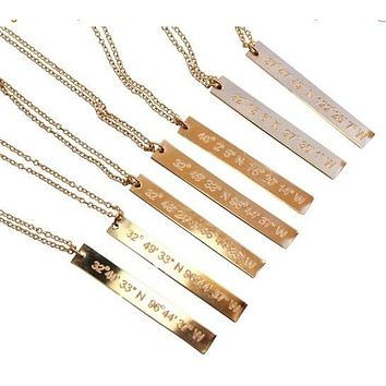 Vertical Bar Custom Coordinate Gold Bar Engraved Necklace