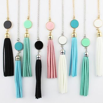 Personalized Initial Monogram Blanks Acrylic Disc Velvet Tassel Long Chain Pendant Necklaces for Custom Women Jewelry Mint Aqua