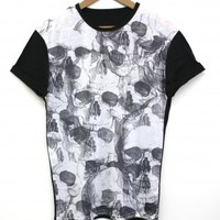 Spooky Skull Black All Over T Shirt
