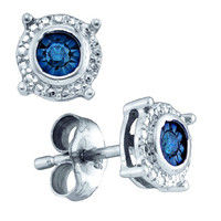 Blue Diamond Fashion Earrings in White Gold-plated silver 0.1 ctw