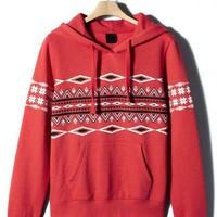 Red Folk Style Hooded Sweatshirt$51.00