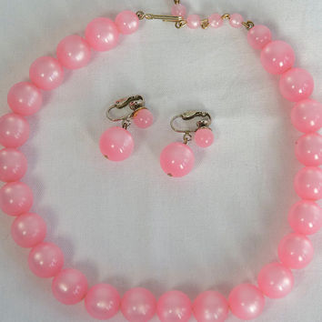 Black Friday Sale** Vintage Pink Moonglow Pin-up Necklace and Drop Earrings Set 60's