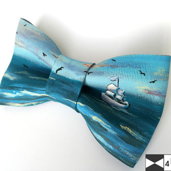 Real Leather Bow Tie OOAK Painted See Ship Necktie Bowtie Unique Fancy Exclusive Wedding Evening Dickie Bow Party Men Lady Gift BowTie4You