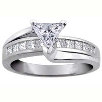 Engagement Ring - Trillion Diamond Bridge Engagement Ring Setting in 14K White Gold 0.62 tcw. - ES296WG