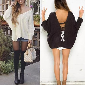 Backless Strappy Long Sleeve V-Neck Knit Top Sweater