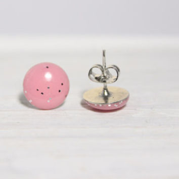pale pink and glitter earrings, resin studs, stud earrings, hypoallergenic jewelry