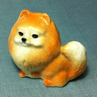 Miniature Ceramic Dog German Spitz Animal Cute Little Tiny Small White Brown Orange Statue Decoration Collectible Hand Painted Craft Figure