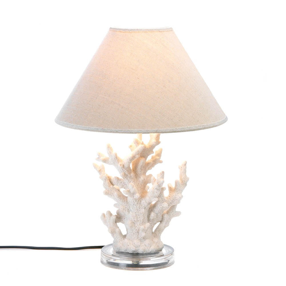 white coral table lamp from decalify nautical decor. Black Bedroom Furniture Sets. Home Design Ideas