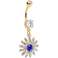 Clear Blue CZ 14k Gold Plated Sparkling Flower Dangle Belly Ring | Body Candy Body Jewelry
