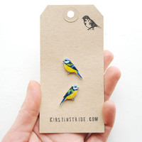 Hand drawn Blue Tits. Bird Earrings