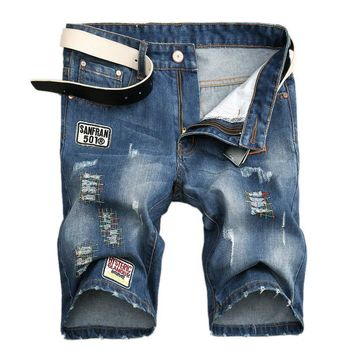 Denim Summer Strong Character Ripped Holes Men Stylish Pants [1922680062045]