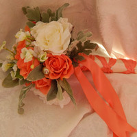 Silk Wedding Bouquet - Tangerine and White Rose Wedding Bouquet- READY TO SHIP