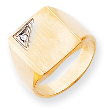 14k Yellow Gold Squared Top Solid Signet Ring