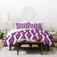 Holli Zollinger Ikat Pink And Navy Duvet Cover