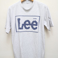 Vintage 1992 LEE JEANS Tee T Shirt Gray Size L