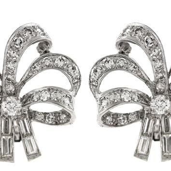 Ladies Vintage Estate Platinum 1.56ct Diamond Ribbon Bow Clip On Earrings