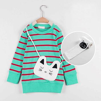 New Spring Clothing Sets Cartoon Cat Printed Kids Casual Sets Plaid Shirts Pant Children School Wear