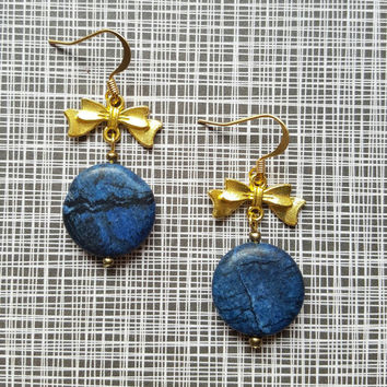 Elegant Natural Turkish Turquoise Gemstone Earrings with Gold Bow