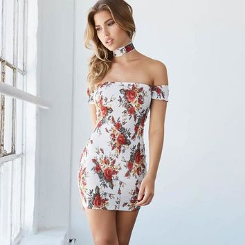 Off Shoulder Short Sleeves Floral Print Short Dress