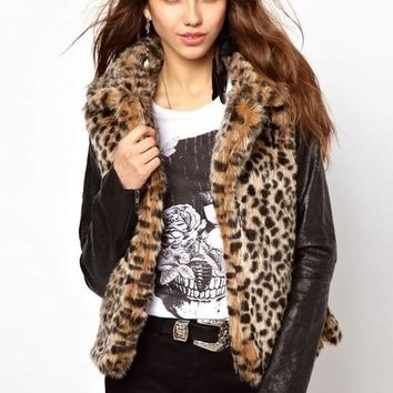 Women Coat New Patchwork Leopard Slim Synthetic Leather Cardigan Warm Faux Fur Autumn Winter
