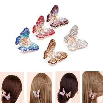 Fashion Butterfly Claw Crystal Rhinestone Hair Clip Clamp Hairpin Jaw for Women Girl