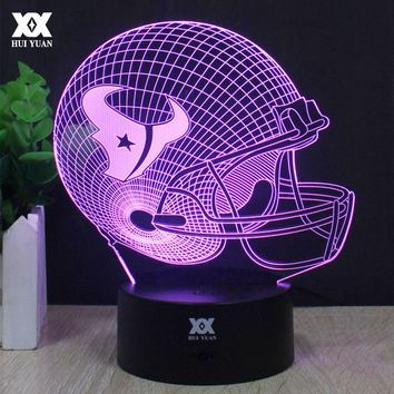 Houston Texans Rugby helmet 3D Lamp LED Decorative Table Lamp USB Novelty Night Lights Child's Gift HUI YUAN Brand