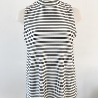 DANA RIBBED MOCK NECK TOP- STRIPE