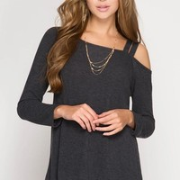 Charcoal One Shoulder Top