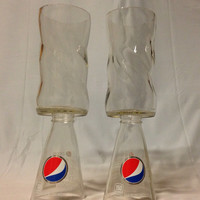 Upcycled Pepsi Soda Pop Wine Glasses by RandomCraftsBySundee