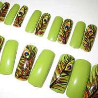 Peacock feathers nail art, press on nails, fake nails, Green background, alternating nail art, multi color nail art