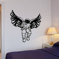 Wall Decal Diving Suit Space Angel Wings Astronaut Mural Vinyl Stickers (ed030)