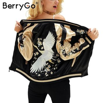 Trendy BerryGo Floral embroidery satin jacket coat Autumn winter street jacket women Casual baseball jackets reversible sukajan 2017 AT_94_13