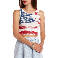 AMERICAN FLAG PRINT GRAPHIC CROP TOP